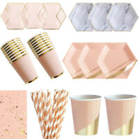 Pink Rose Gold Party Disposable Tableware Paper Plate Cups Party Decor Supplies~