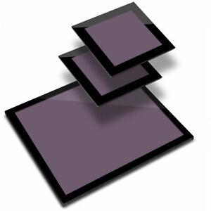 Glass Placemat  & 2x Coaster  - Deep Purple Colour Block  #44862