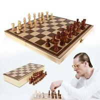 Hand Crafted Game Toy Chess Set Parquet Wood Board & Wooden Pieces Gift Kids S>