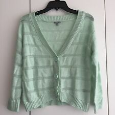 Womens Charlotte Russe Mint Green Striped Loose Fitting Sweater Cardigan XS NWOT
