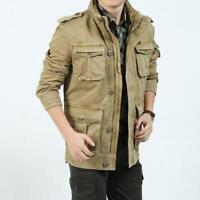 men Cotton Casual Army Collar Jacket hunting safari desert trench coat Outerwear