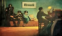 YOUNG PEOPLE LISTENING TO THE PIANO. WATERCOLOR ON PAPER. EUROPE. CIRCA 1920