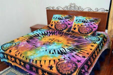 Sun & Moon Cotton Queen Size Bed Sheet With 2 Pillows Ethnic Indian Bedcover Art