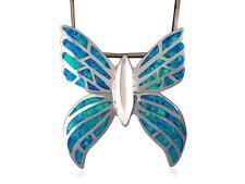 925 Sterling Silver Hawaiian Blue Mosaic Inlay Opal Butterfly Monark Big Pendant