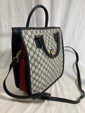 GUCCI Rare Navy Blue Canvas and Leather Trim Satchel Shopper Shoulder Bag
