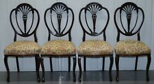 SET OF FOUR VICTORIAN CHAIRS MAHOGANY FLORAL UPHOLSTERY FOR RESTORATION REPAIRS