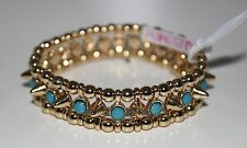 NWT JULES SMITH 14k Plated Gold Spike Stud TURQUOISE Stretch Bangle Bracelet