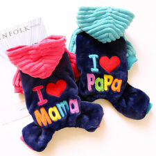 Dog jumpsuit warm thickened clothes pet clothing cat warm I love mom and Dad