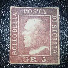 Antichi Stati Sicilia 5 grana n.9d rosso brunastro nuovo con gomma