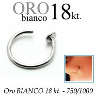 Piercing NASO cerchio anello in ORO BIANCO 750% 18kt. nose ring white GOLD 18kt
