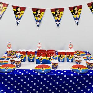 Wonder Woman Girl Lady Party Tableware Birthday Deco Supplies Plates Straws Flag