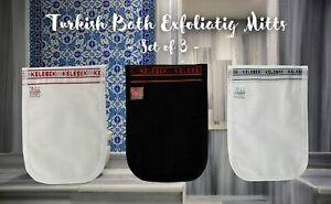 Set of 3 Turkish Bath Hamam Spa Peeling Exfoliating Mitt/Kese, Remove Dead Skin