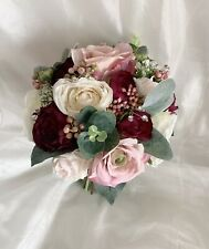 Stunning Artificial Flowers Vintage DuskyPink,ivory And Wine Wedding Bouquet