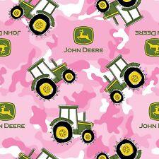John Deere Tractor Camo Camoflage Tractors Logos Fleece Pink Fabric - 2-yds
