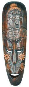 Maske mit Buddha, wahlweise in 50 cm oder 100 cm, Holz-Maske aus Bali, Wandmaske
