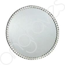 Crystal Gem Mirror Round Candle Plate Glass Home Decor Centrepiece Dish (25cm)