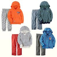 NWT Carter's Baby Boys Striped French Terry Hoodie & Pants/Jogger Set