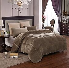 Down Alternative Supreme Plush Comforter Blanket Full/Queen 3 PC Set Taupe