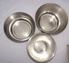 "Stainless Steel Mixer Bowls 2 matching nesting 8"" , 8.5"", 9"" kitchen baking"