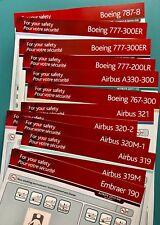 12 AIR CANADA SAFETY CARDS SET--E190-787