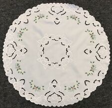 """24"""" Large Round Embroidery Fabric Doily Doilies Mat Embroidered Handmade Rosebud"""