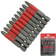 Dekton 10pc Pozi 2 PZ2 X 50mm Screwdriver Bits Non Slip Bit Set DT65412