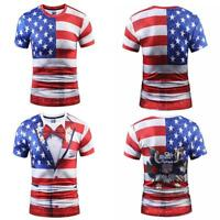 Stars American Flag 3D T Shirts Men Crew Neck Short Sleeve Tee Tops S-3XL