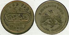 EARLY GERMAN SILVER KERR HOUSE BAR 5c SALOON TOKEN PICTORIAL EAGLE MARION OHIO