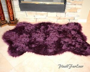 Nursery Rug 5x7 Purple Lavender Plush Shaggy Flokati Carpet Throw Rug Sheepskins