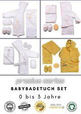 Babybademantel Set 4 tlg., Baby Geschenkset, Babybadetuch mit Kapuze, Bademantel