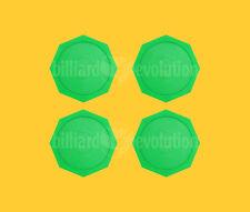 "Set of 4 Air Hockey Pucks - Green Octagon Pucks 2-1/2"" - 63mm Table Hockey Pucks"