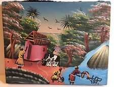 VINTAGE AFRICAN KENYA ART Fabric Canvas Cow Women Washing Painting Signed HP