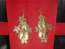 NEW GOLDEN Flower SUPER Earrings FOR Sari SKIRT DRESS Outfit BELLY DANCE Jewelry