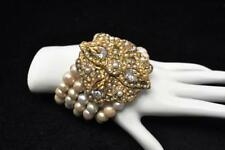 GYPSY 5 Strands Twisted Pearl BRACELET Stunning Jewel Encrusted Gold Clasp 205gm