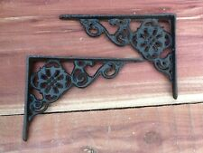 4 Flower Wall Shelf Brace Shelf Bracket Corbel Cast Iron Rustic FREE SHIPPING