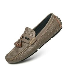 Mens Leather Crocodile Pattern Non-slip Casual Driving Shoes Loafers Moccasin Sz