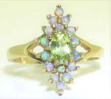 9ct PERIDOT OPAL MARQUISE CLUSTER RING 9 CARAT YELLOW GOLD  SIZE N 1/2