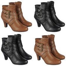 Women's Winter Fashion High Heels Booties Ankle Boots Riding Low Shoes Size B46
