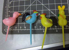 vintage 1950s Easter theme Hors d'oeuvre picks set of 4, plastic hand painted