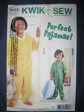 Kwik Sew Pattern K3922 3922 Sleepsuit Sleeper Jumpsuit Onesie Pyjamas size 1-4
