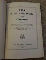 Nice 1924 ATLAS OF THE WORLD & GAZETTEER Funk Wagnalls CS HAMMOND COLOR MAPS