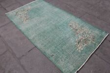 "Vintage Handmade Turkish Anatolian Wool Green Area Rug Carpet 80""x41"""
