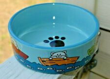 WHISKER CITY  Pet Food Water Dish Blue Ceramic Cats in Boat Fish Blue 5""