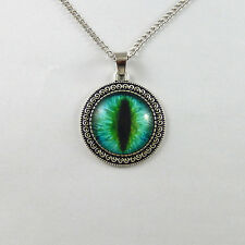 70cm Retro Chain Blue Dragon Cat Eye Cameo Gem Pendant Necklace Fashion Jewelry