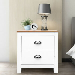 Bedside Cabinet Table Telephone Stand 2 Drawers Bed Side Nightstand White+Beech
