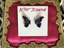 Betsey Johnson Butterfly Blitz 3D Fluttering Purple Crystal AB Stud Earrings