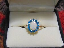 Genuine Coober Pedy Opal & Neon Apatite Ring in 10k gold.