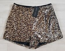 NEW LOOK size 16 leopard print SEQUIN SHORTS gold summer party hotpants