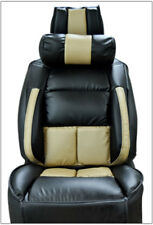 UNIVERSAL LIMOUSINE BLACK/BEIGE S.LEATHER FRONT ONE SEAT COVER WITH NECK CUSHION