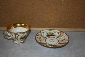 Biedermeier Tasse Unterteller handgemalt